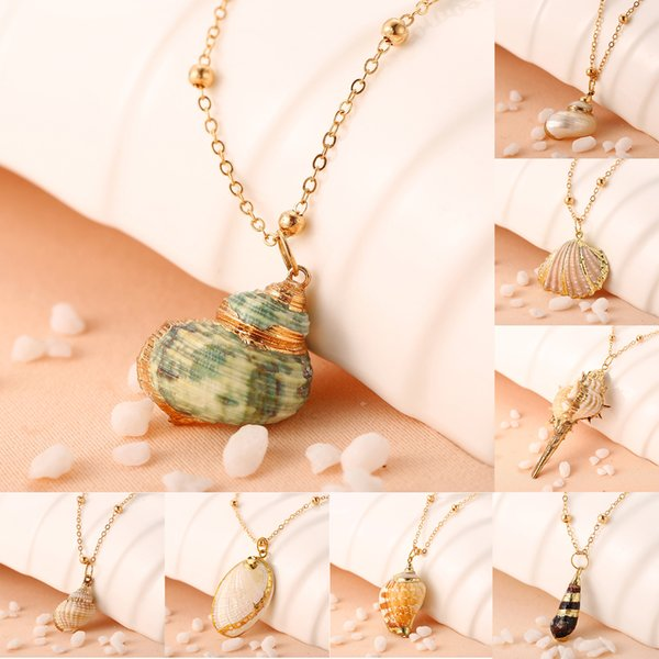 Europe and the new creative retro conch pendant necklace Striped scallop gold-plated necklace fashion clothing accessories gold-plated penda