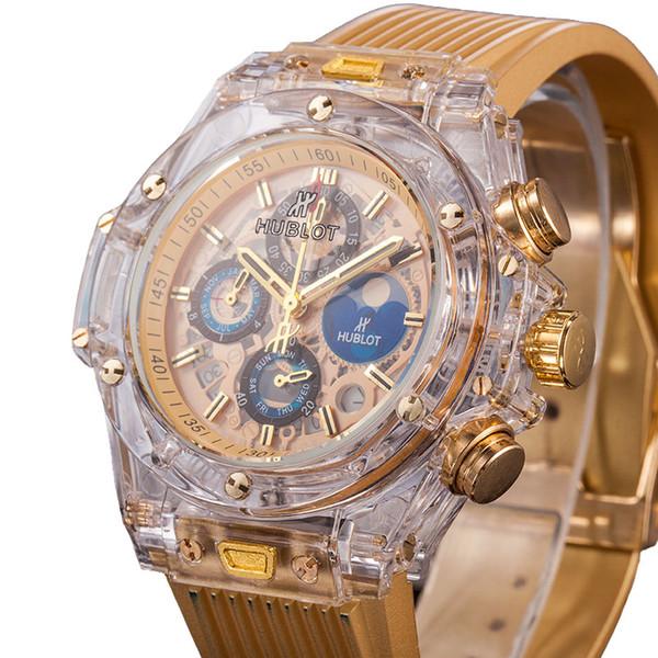 2019 vendita calda lusso HB quadranti trasparenti sport mens orologi funzione completa tutti i puntatori lavoro orologio da polso da uomo con confezione regalo