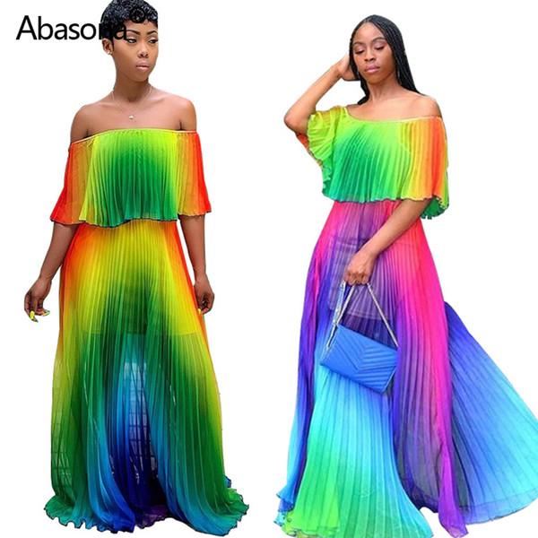 Women Summer Gradients Tie Dye Printing Chiffon Big Hem Off Shoulder Maxi Plissee Sexy Party Dress Sexy Bohomian Long Beach Dress Y19071101