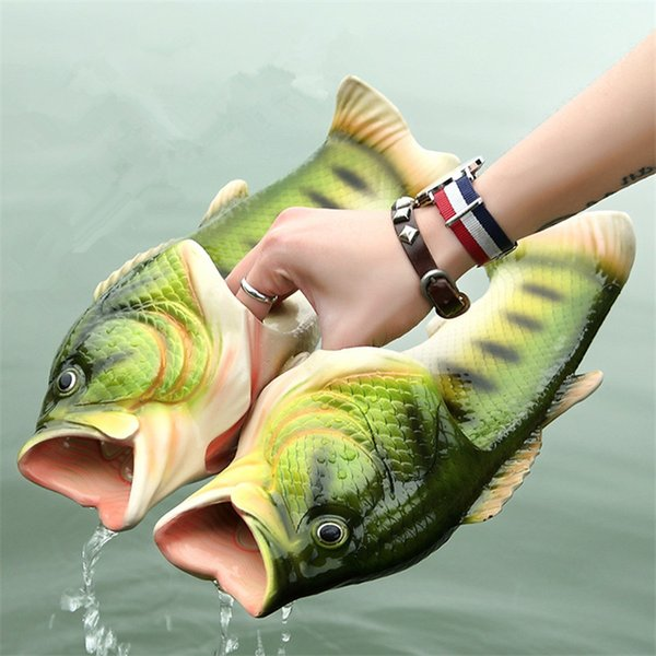 Пары новизна новизна рыба открытый смешно радость мода лето Мужская обувь Рой пластиковые тапочки слайды сандалии мужчины квартиры пляж