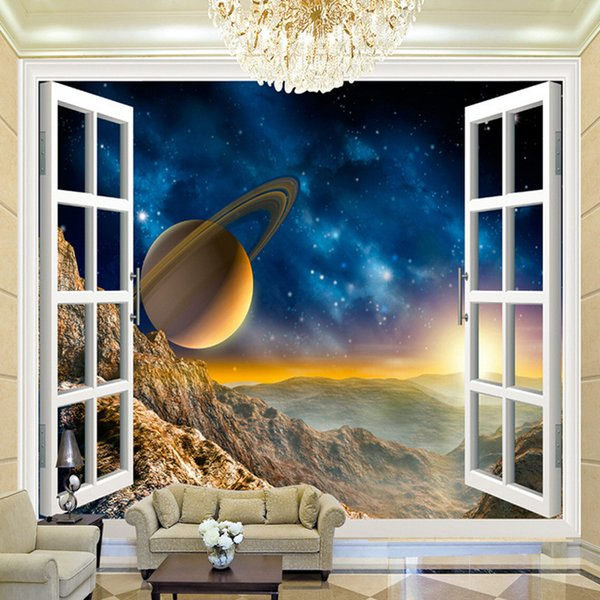 Customized 3D Space Window View Planet Wall Mural 3D Room Landscape Wallpaper For Walls Living Room Sofa Background Wall Paper