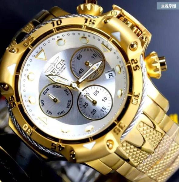 Top quality cosc original INVICTA brand Dial diameter 55mm Chronograph Luminous Men's Quartz watch Five color choices+original box