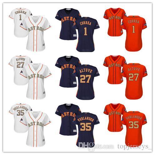 Mujeres al por mayor Majestic Astros Jersey # 1 Carlos Correa 27 José Altuve 35 Programa Verlander Justin señoras de las muchachas jerseys del béisbol