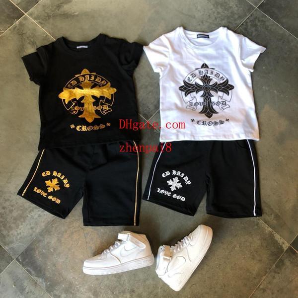 2019 crianças roupas meninos fatos de treino unisex calções T-shirt terno impressão manga curta + shorts calças 2 pcs terno do bebê menino menina Roupas AB-3
