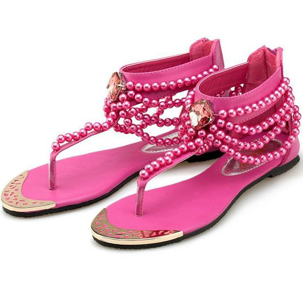 New Pearl Chain Beads Rhinestone Wedge Sandals Yellow Flat Heel Flip Flop Flops Fashion Sexy Summer Sandal Women Sandals Shoes