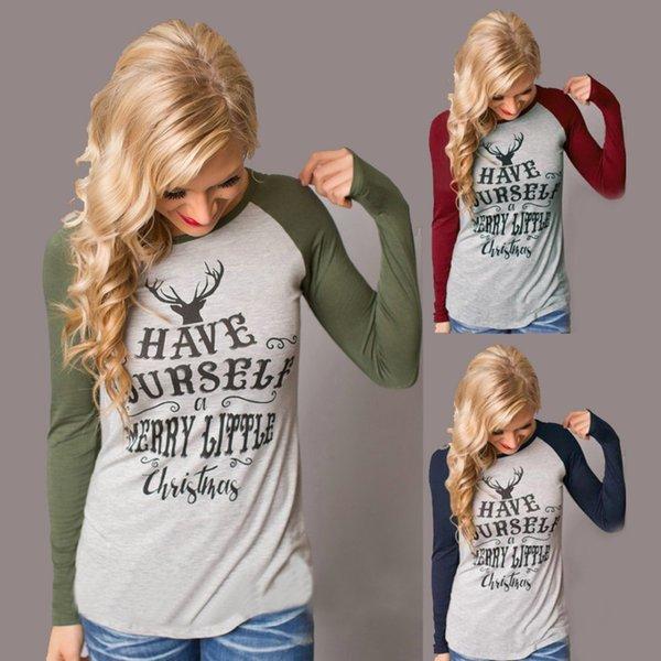Bayan Noel T Shirt Kadın Uzun Kollu Gri Womens Tops Sonbahar Tee Gömlek Kadın Moda Stil T Gömlek Pamuk Yeni Artı Boyutu