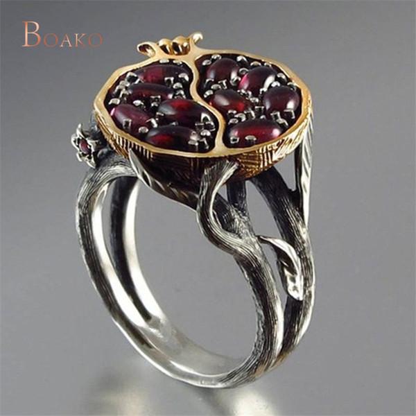 Cor do Ouro Rodada do vintage Natural Red Garnet Anel De Cristal Rhinestone Pedra Bague Pomegranate Anéis de Jóias para As Mulheres Z4