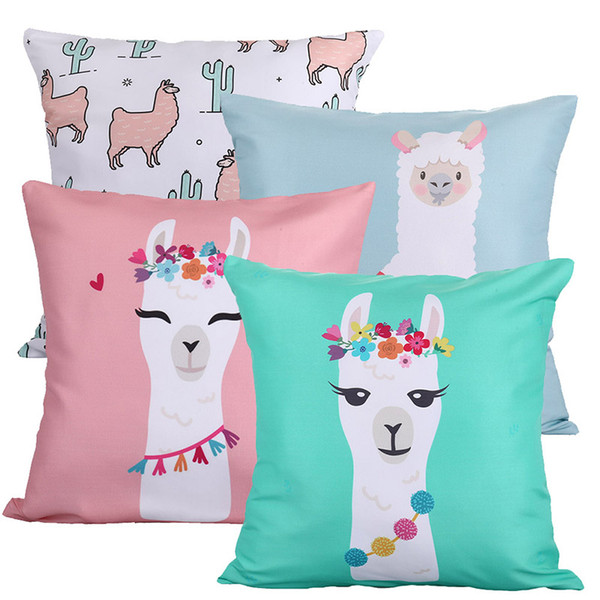 Animal Alpaca Flower Cushion Cover Cactus Party Llama Pillow Case Tropical Vintage Chair For Sofa Throw Pillows 45cm Burlap Soft