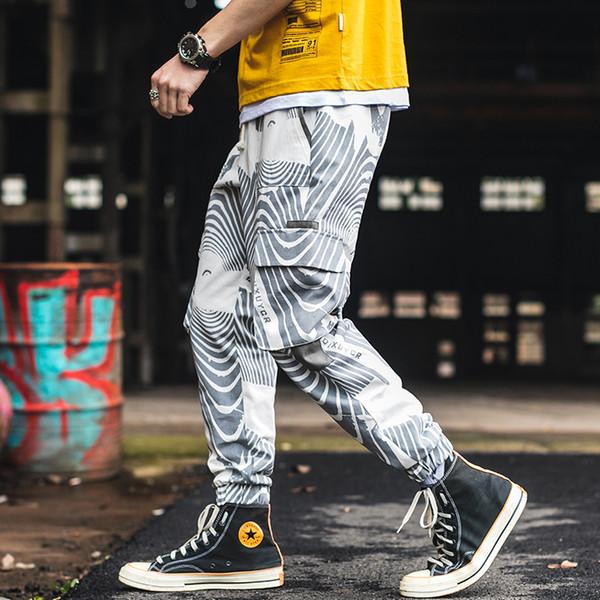 LOLDEAL Мужские мульти-карманные Harlan Hip Hop Популярные брюки с принтом зебры Street Men's Повседневная мода Девять брюк