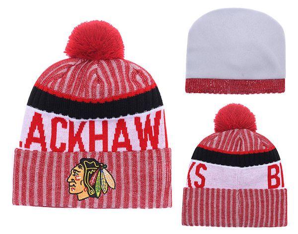 Vente en gros-Chicago Blackhawks Bonnets Hockey en Tricot Réglable Chapeau Brodé Snapback Caps Noir Blanc Rouge Gris Chapeaux Cousus Taille Unique