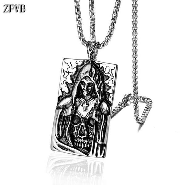 ZFVB Punk Mort Satan Croix Squelette Crâne Pendentif Colliers Mens En Acier Inoxydable Argent Couleur Mode Biker Démon Bijoux