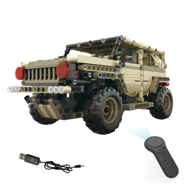 wholesale 2.4G 4H USB Charging Building Block Simulated Military Vehicle 538pcs DIY Electric RC Car Model For Children