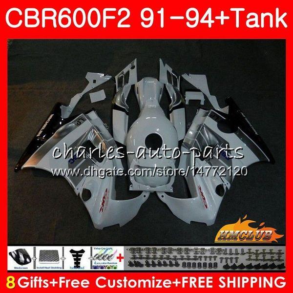 Body + réservoir pour HONDA CBR 600F2 CBR 600 FS 1991 1992 1993 1994 40HC.33 CBR600FS 600CC CBR600 F2 CBR600F2 F2 91 92 93 94 carénages blanc brillant