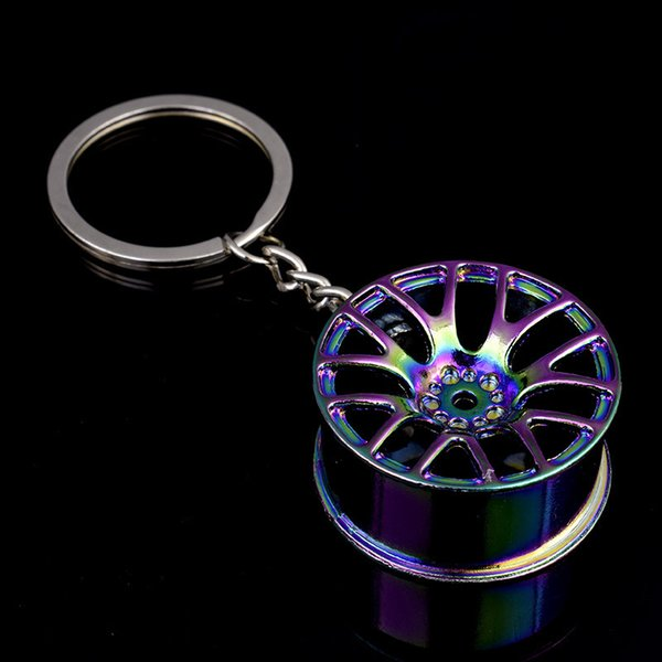 1pc New Car Wheel Keychain Car Styling Cool Luxury Key Ring Alloy Auto Part Model Car Keyring Hub Turbo Keychain Bag Pendant
