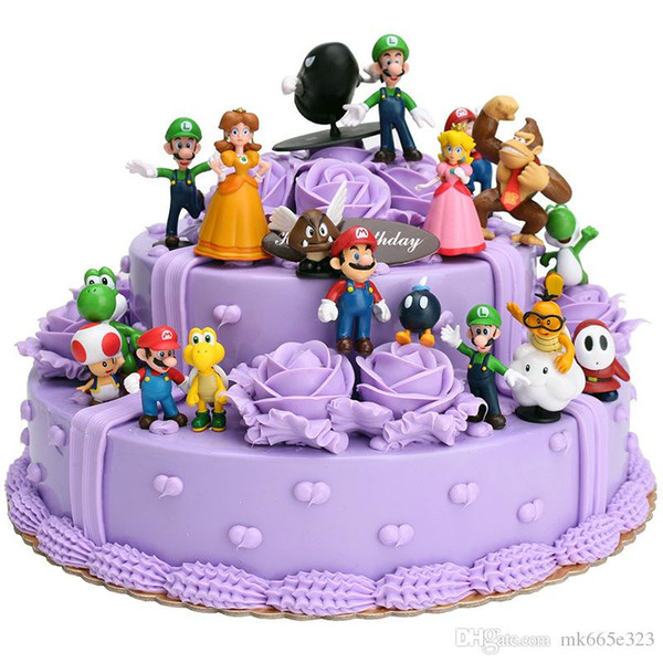 Super Mario Bros 18pcs PVC Figure topper Super Mario nds Luigi Peach Yoshi Dinosaur Video Game Action Figures Toys