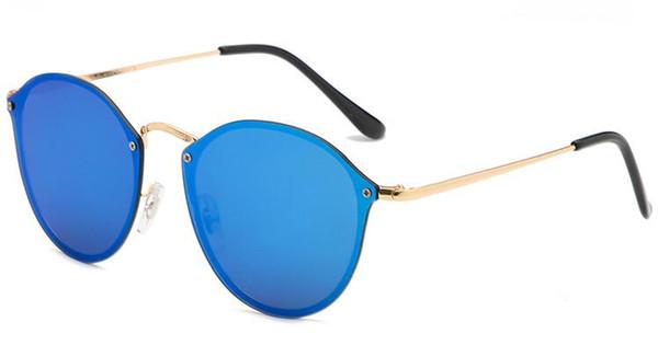 Nueva tendencia de moda 3574 BLAZE ROUND Style Sunglasses Vintage Retro Diseño de marca Color Espejo Gafas de sol Mujeres Oculos De Sol gafas flash