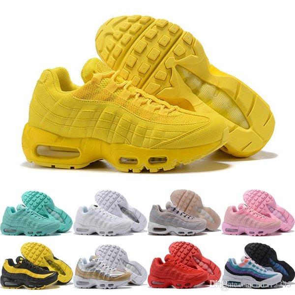 new product a0cff 488db Womens Mens Designer Trainers Sneakers 2019 Grass Green Yellow Pink White  95s Womens Jogging Outdoor Sports Shoes Size 5.5 8.5 Yellow Shoes Gold  Shoes ...