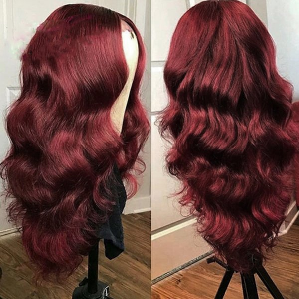 PAFF 1b / 99j onduleux de dentelle perruques de cheveux humains Pré plumé Rouge mode Bourgogne Remy perruque brésilienne pour les femmes