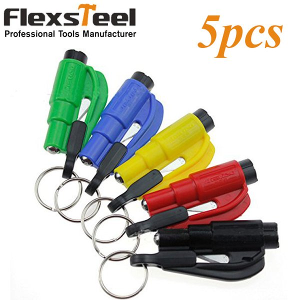 best selling tool skateboard Pocket Auto 5pcs Glass Window Breaking Safety Hammer Emergency Escape Rescue Tool with Keychain Seat Belt Knife Cutter