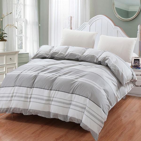 Moderne einfache beige weiße Gitter Bettbezug Bettbezug 100% Baumwolle Moderne Bettbezug Single Double Bettwäsche Hauptverzierung Bettdecke