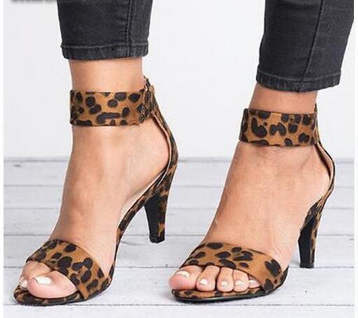 Spring Women Pumps Thin High Heel Open Toe Zipper Suede Wedding Leopard Platform Office Ladies Sandal Shoes Sapato Feminino 630W