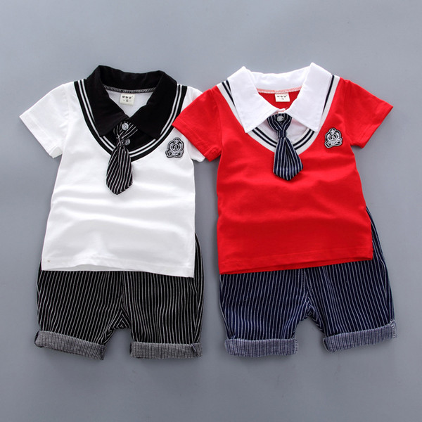 good quality baby clothing sets boys summer fashion cotton T-shirt+stirped pants 2pcs Baby gentleman suit outfits for 0-4T