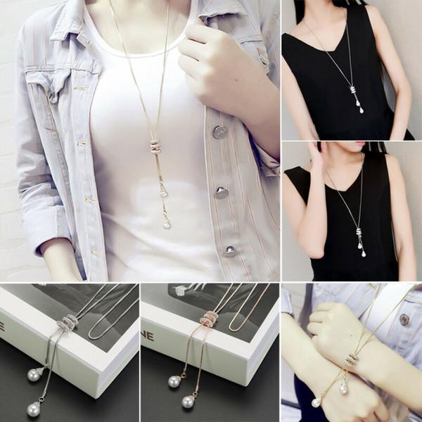 Kadınlar Rhinestone Kristal kolye Uzun Zincirli Triko Kolye Takı Moda Kolye