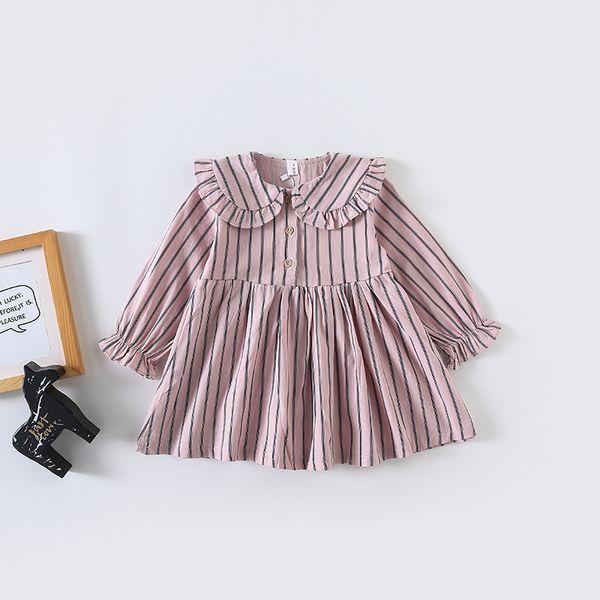 Bébé Filles Printemps Robe Enfants Vêtements Pleine Dénudée Imprimer à manches longues Pet Pan Collier Fille Robe Fille Enfants Robes Décontractées