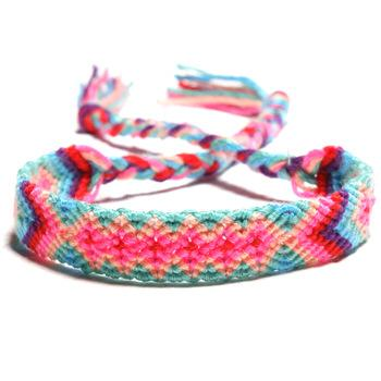 New Style Fashion Weaving Bracelet Nepalese National Wind Hand-Woven Handicraft Rainbow Colorful Lucky Friendship Bracelet Jewelry H683F A
