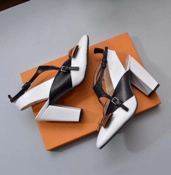 Mode Femmes Épais talon bout pointu chaussures à talons hauts En Cuir Véritable Boucle Croix Femmes robe robe Chaussures de fête chaussures de mariage avec boîte