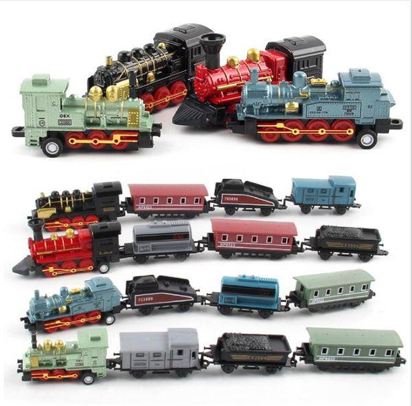 Children's hot sale toy simulation retro steam small train return force car alloy children's car train model toy furnishings