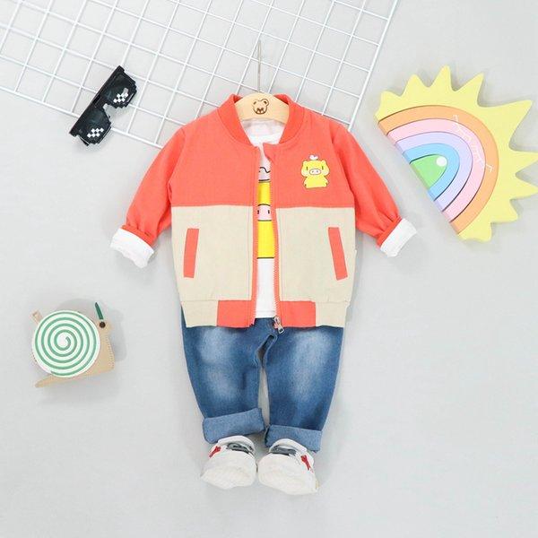 Sonbahar Kız Erkek Bebek Giysileri 3 adet Uzun Kollu Karikatür T-shirt + Fermuar Ceket Kaban + Denim Pantolon Rahat Çocuklar Kıyafetler