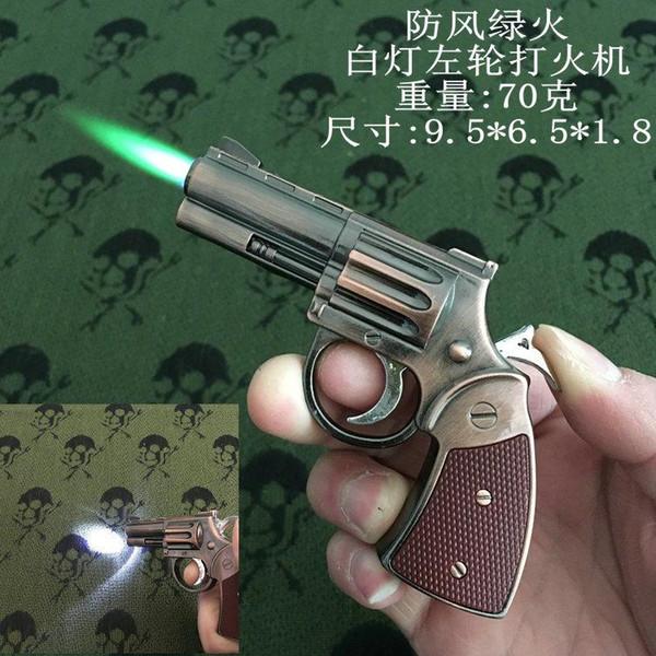 New Arrival Genuine Metal Model Revolver Gun Lighter with LED White Light Inflatable Torch Windproof Lighter Model Gun