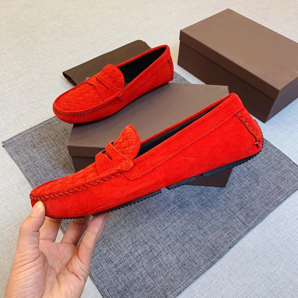 2019 scarpe nuove di fagioli di guida, materiale in pelle strato di testa, texture morbida e Super! il comfort Premium (rosso)