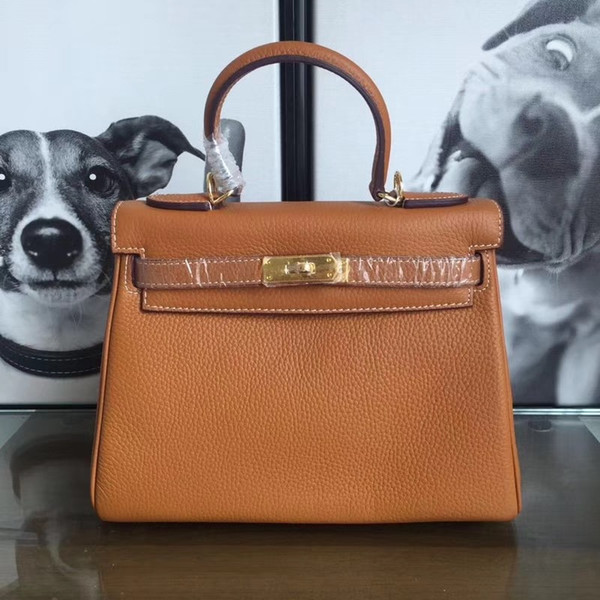 Free shipping fashion Designer women's handbag bag brown orange leather calfskin leather shoulder bag totes gold Hardware 32cm brand new