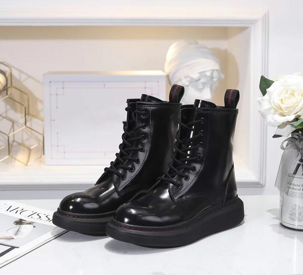 2019 nouvelle mode womne Counter qualité véritable cuir noir bout rond lacets femmes cheville bottes de mode