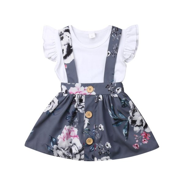 New Arrivels Toddler Kids Baby Girl Ruffle Tops Romper Floral Overall Suspender Skirt Outfits