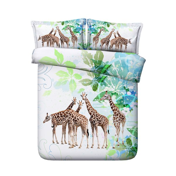Colorful Giraffe Duvet Cover Set A Decorative 3 Piece Bedding Set With 2 Pillow Shams Comforter Quilt Cover Kids Boys Girls West African