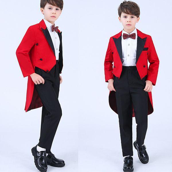 2019 Ropa formal para niños Trajes de boda Traje rojo de solapa de cola solapa Negro guapo Fiesta de baile trajes de trajes (chaqueta + pantalones + arco + camisa)