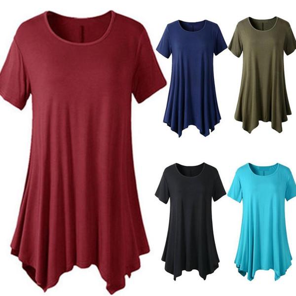 2018 Summer t-shirt Women solid tshirt Short Sleeve O-Neck Tie-Dye Long Tunic Top Irregular Hem T-shirt Loose Female Tops