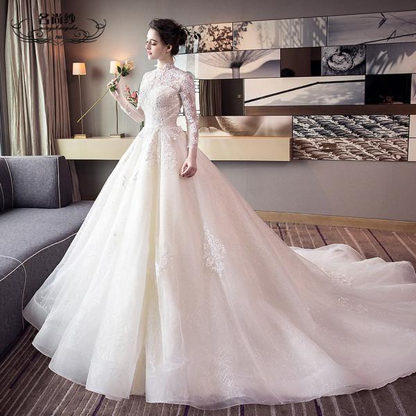 Wedding new lead European and American princess dream long drag tail retro large size Qi Di bride wedding dress girl