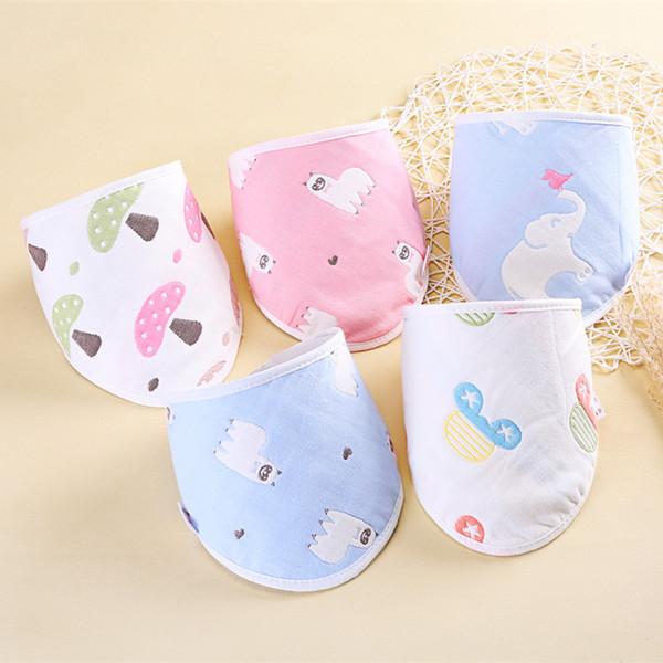 Baby Bibs Towel Triangle Burp Saliva Burp Cloths cartoon Infant Toddler Bandana Scarf Six Layers Kids Nursing Bibs Cotton Gauze S19JS220