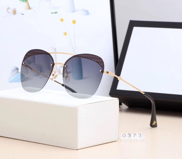 2019 Designer Sunglasses Fashion Brand for Women and men frameless blue Glass Rectangle Driving UV400 Adumbral with Box G0373 High Quality