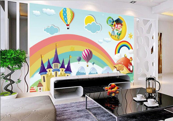 Custom Wallpaper Kids Room Mural Rainbow Castle Cartoon Backdrop Kids Room Mural Wallpaper For Walls Papel De Parede Wallpapers For The Desktop