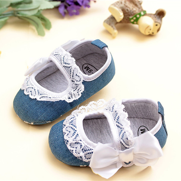 Baby Girls Toddler Pre Walker Shoes Infant Kids Elegant lace Bowknot Princess Shoes Casual First Walker soft sole indoor