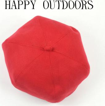 Happy outdoor wild pure color woolen beret octagonal hat female autumn and winter simple casual black red wine red light gray plain color mo