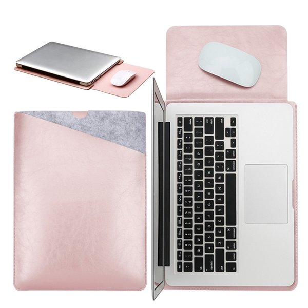 Mouse Pad Pouch Notebook Case para Xiaomi Macbook Air 11.6 12 13 Cover Retina Pro 13.3 15 15.6 Fashion Laptop Sleeve Leather Bag