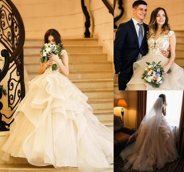 New designer Princess ball gown wedding dresses plus size sweep train vintage lace appliques corset lace up Tiered custom made bridal gowns