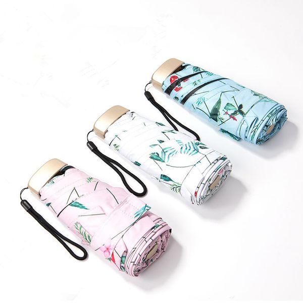 Fashion Mini Pocket Umbrella Women UV Flowers Umbrellas Rain Women Waterproof Men Sun Parasol Convenient Girls Travel Parasol