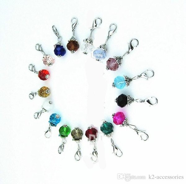 Mix Colors 10mm Crystal Birthstone Dangles Birthday Stone silver Pendant Charms Beads With Lobster Clasp Fit For Floating Locket